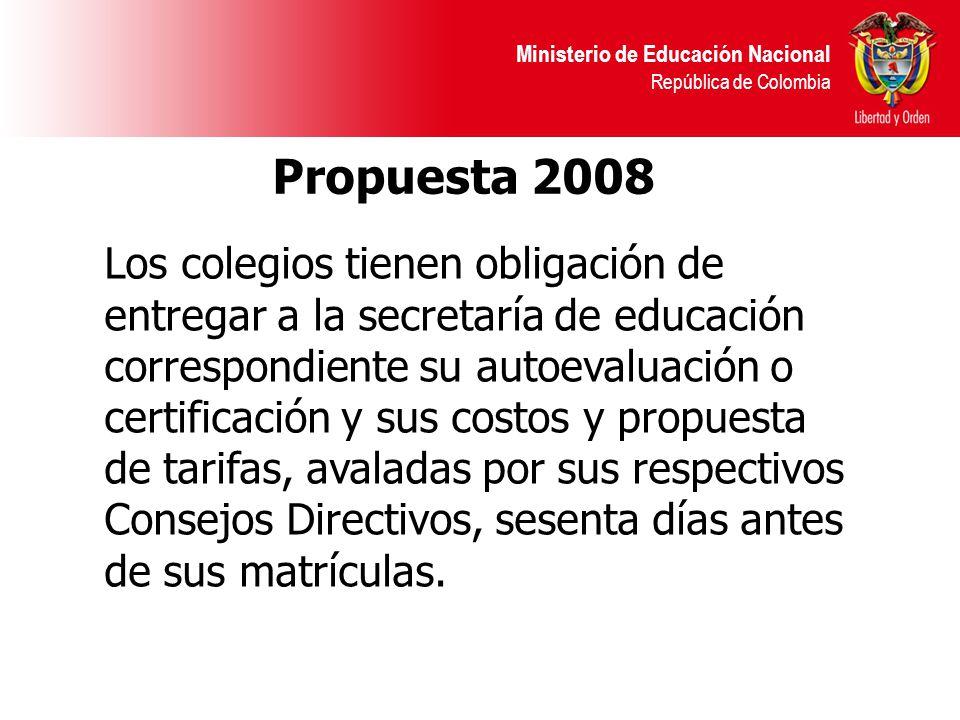 Ministerio de Educación Nacional República de Colombia Propuesta 2008 Los colegios tienen obligación de entregar a la secretaría de educación correspondiente su autoevaluación o certificación y sus costos y propuesta de tarifas, avaladas por sus respectivos Consejos Directivos, sesenta días antes de sus matrículas.