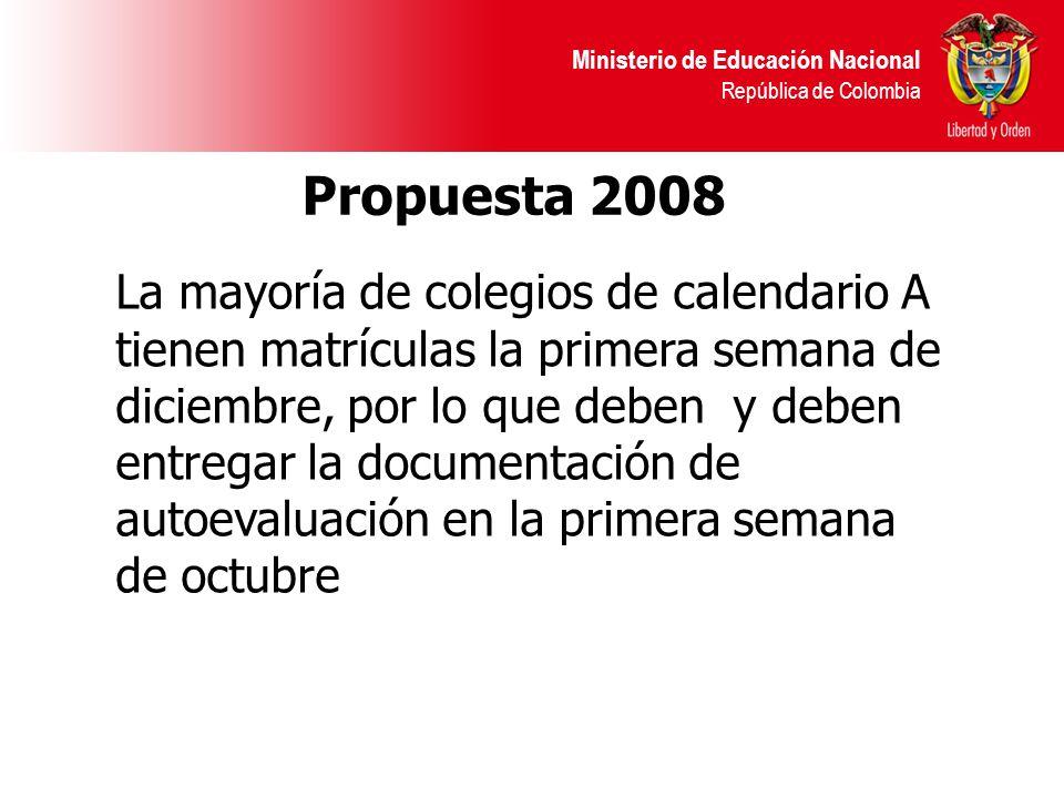 Ministerio de Educación Nacional República de Colombia Propuesta 2008 La mayoría de colegios de calendario A tienen matrículas la primera semana de diciembre, por lo que deben y deben entregar la documentación de autoevaluación en la primera semana de octubre