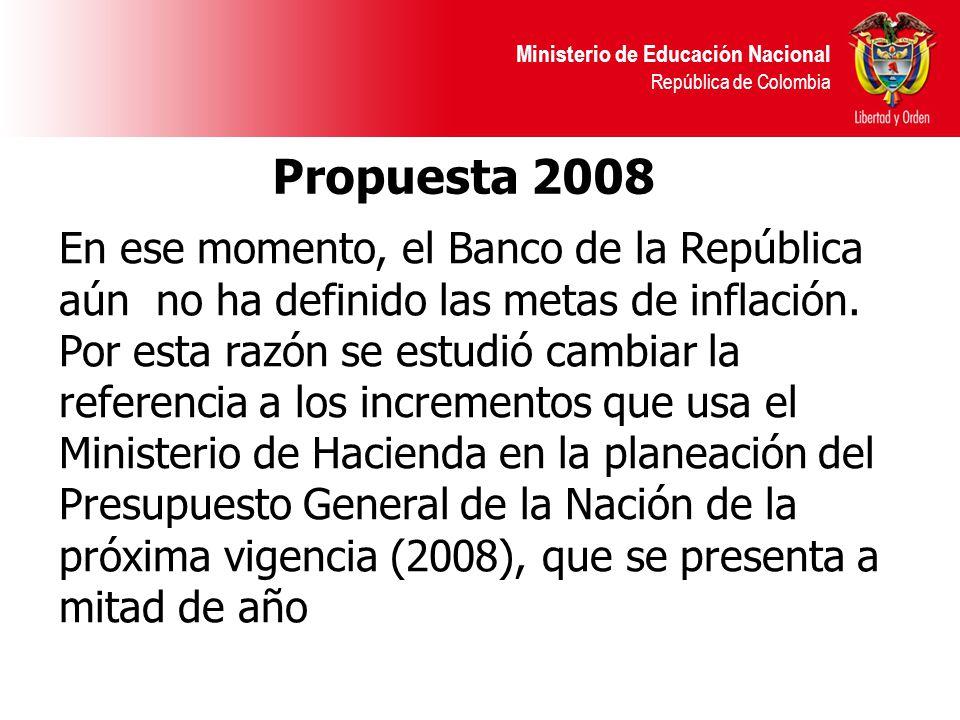 Ministerio de Educación Nacional República de Colombia Propuesta 2008 En ese momento, el Banco de la República aún no ha definido las metas de inflaci
