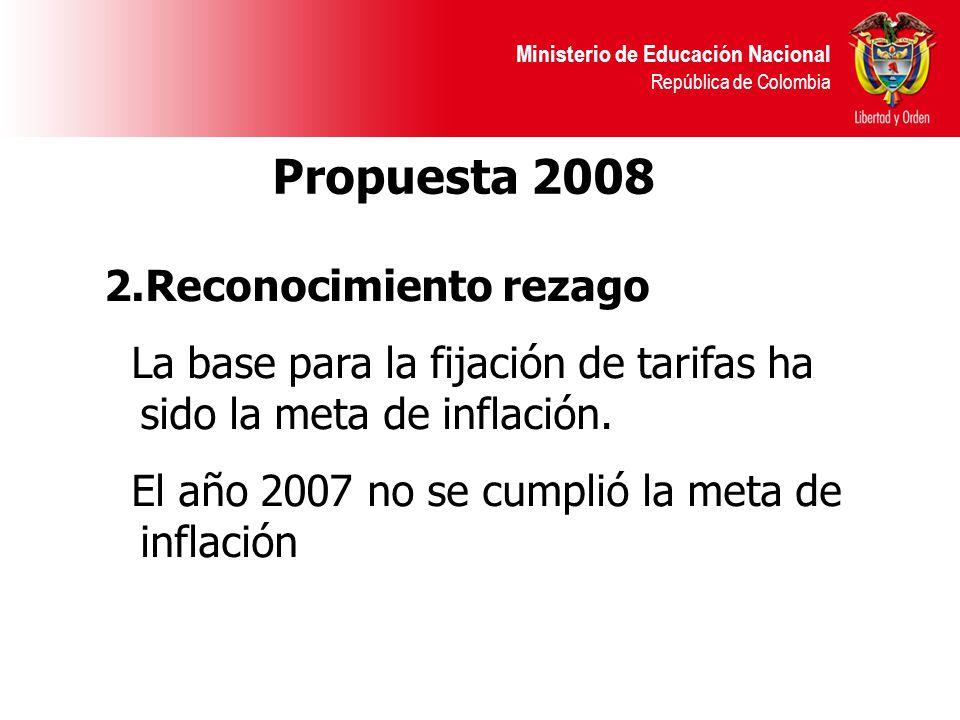 Ministerio de Educación Nacional República de Colombia Propuesta 2008 2.Reconocimiento rezago La base para la fijación de tarifas ha sido la meta de inflación.
