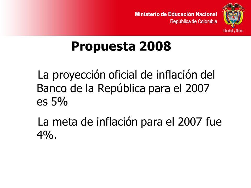 Ministerio de Educación Nacional República de Colombia Propuesta 2008 La proyección oficial de inflación del Banco de la República para el 2007 es 5% La meta de inflación para el 2007 fue 4%.