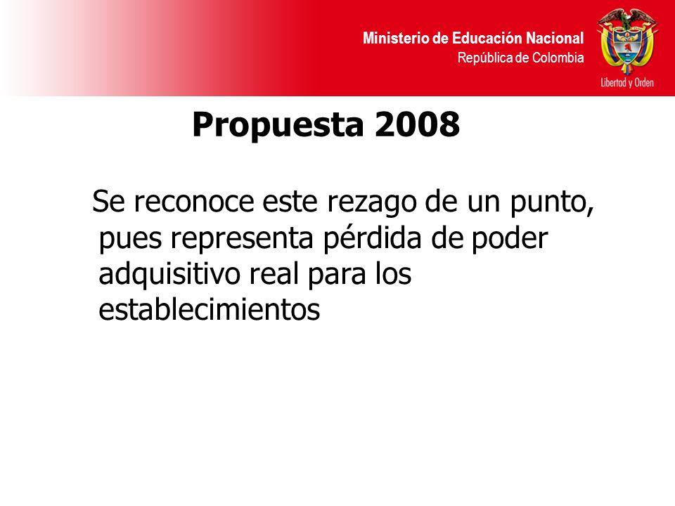Ministerio de Educación Nacional República de Colombia Propuesta 2008 Se reconoce este rezago de un punto, pues representa pérdida de poder adquisitivo real para los establecimientos