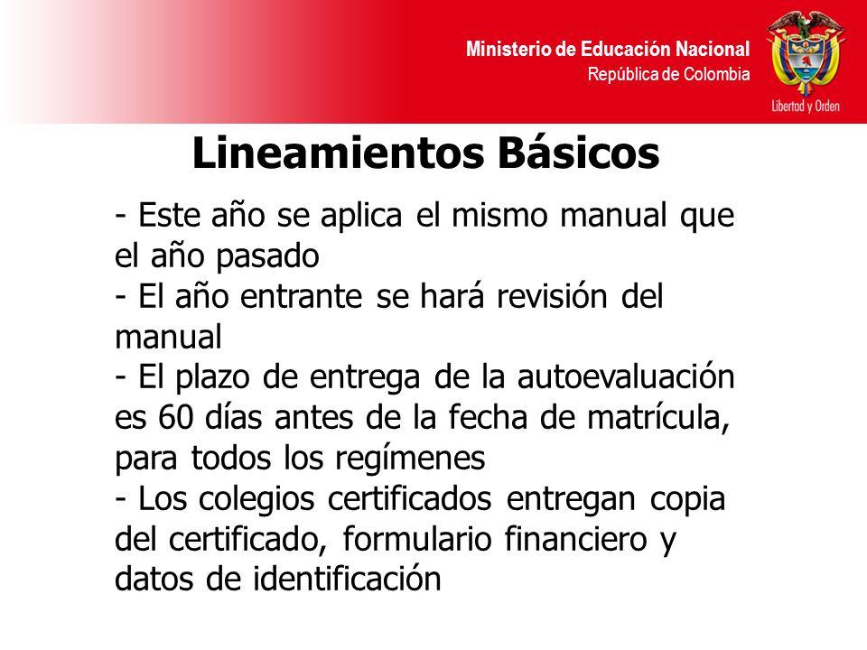 Ministerio de Educación Nacional República de Colombia - Este año se aplica el mismo manual que el año pasado - El año entrante se hará revisión del manual - El plazo de entrega de la autoevaluación es 60 días antes de la fecha de matrícula, para todos los regímenes - Los colegios certificados entregan copia del certificado, formulario financiero y datos de identificación Lineamientos Básicos