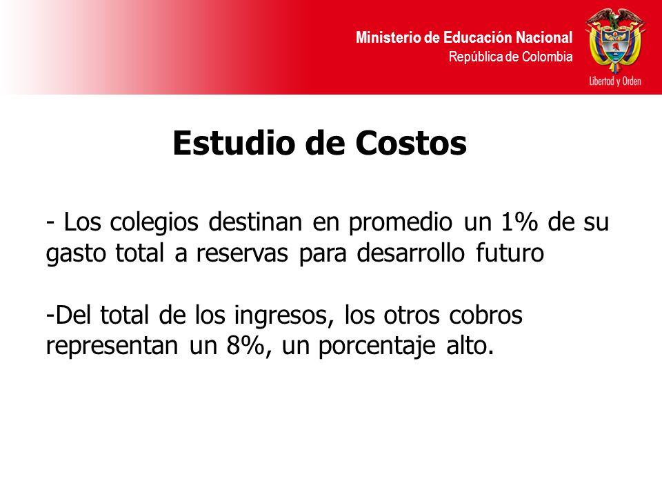 Ministerio de Educación Nacional República de Colombia - Los colegios destinan en promedio un 1% de su gasto total a reservas para desarrollo futuro -Del total de los ingresos, los otros cobros representan un 8%, un porcentaje alto.