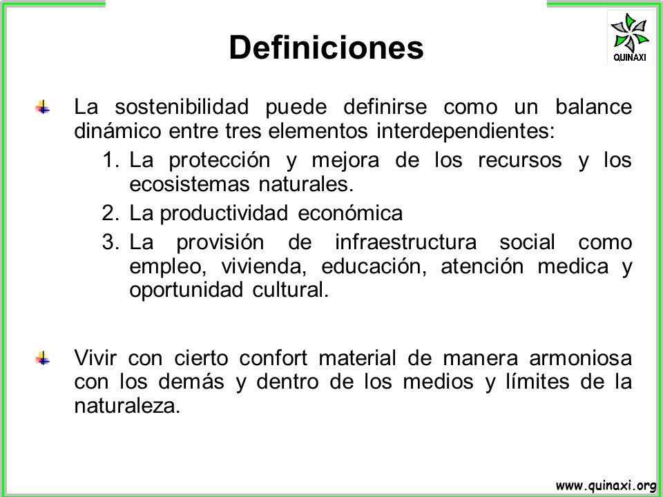 www.quinaxi.org La sostenibilidad puede definirse como un balance dinámico entre tres elementos interdependientes: 1.La protección y mejora de los rec