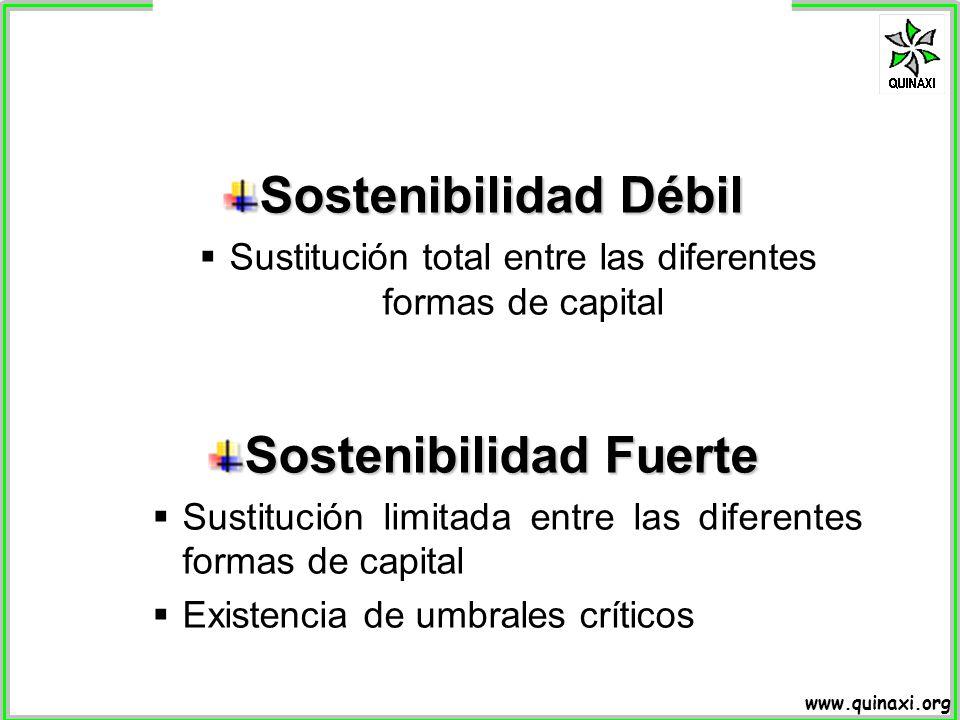 www.quinaxi.org Sostenibilidad Débil Sustitución total entre las diferentes formas de capital Sostenibilidad Fuerte Sustitución limitada entre las dif