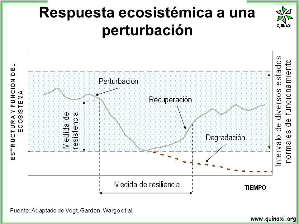 www.quinaxi.org Fuente: Adaptado de Vogt, Gardon, Wargo et al. Respuesta ecosistémica a una perturbación