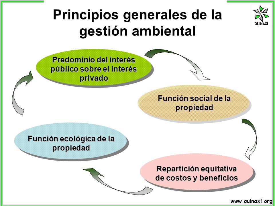 www.quinaxi.org Principios generales de la gestión ambiental Predominio del interés público sobre el interés privado Función social de la propiedad Fu