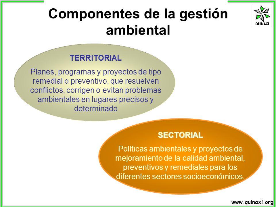 www.quinaxi.org TERRITORIAL Planes, programas y proyectos de tipo remedial o preventivo, que resuelven conflictos, corrigen o evitan problemas ambient