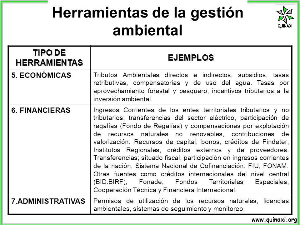 www.quinaxi.org TIPO DE HERRAMIENTAS EJEMPLOS 5. ECONÓMICAS Tributos Ambientales directos e indirectos; subsidios, tasas retributivas, compensatorias
