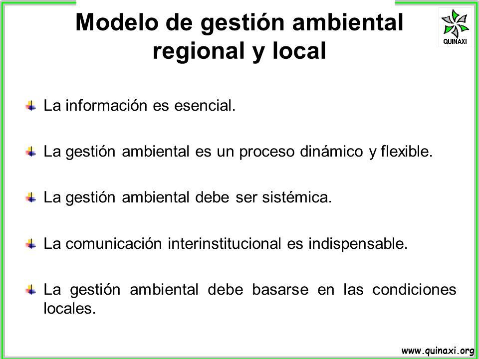 www.quinaxi.org La información es esencial. La gestión ambiental es un proceso dinámico y flexible. La gestión ambiental debe ser sistémica. La comuni