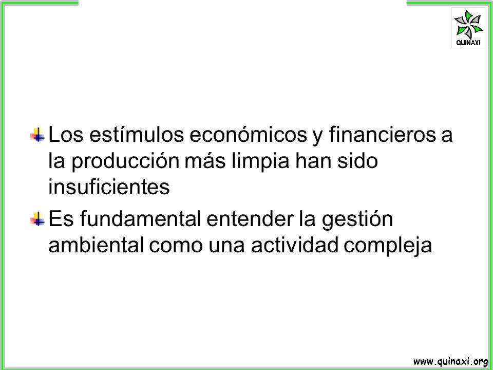 www.quinaxi.org Los estímulos económicos y financieros a la producción más limpia han sido insuficientes Es fundamental entender la gestión ambiental
