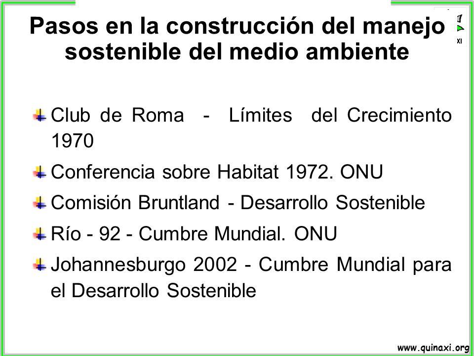 www.quinaxi.org Pasos en la construcción del manejo sostenible del medio ambiente Club de Roma - Límites del Crecimiento 1970 Conferencia sobre Habita