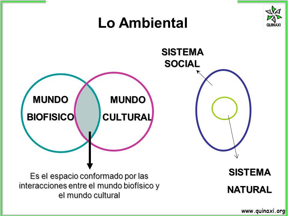 www.quinaxi.org Lo Ambiental Es el espacio conformado por las interacciones entre el mundo biofísico y el mundo cultural MUNDOBIOFISICO MUNDOCULTURAL