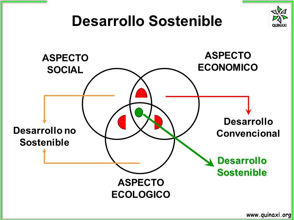 www.quinaxi.org Desarrollo Sostenible ASPECTO SOCIAL ASPECTO ECOLOGICO ASPECTO ECONOMICO Desarrollo Convencional DesarrolloSostenible Desarrollo no So