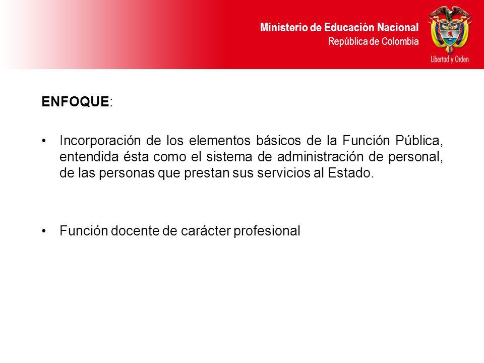 Ministerio de Educación Nacional República de Colombia ENFOQUE: Incorporación de los elementos básicos de la Función Pública, entendida ésta como el sistema de administración de personal, de las personas que prestan sus servicios al Estado.