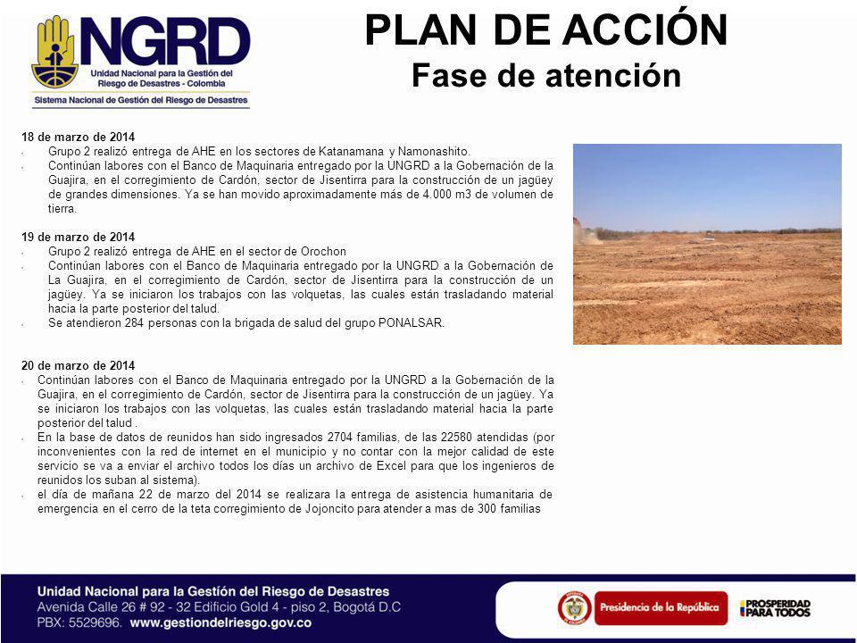 PLAN DE ACCIÓN Fase de atención 21 de marzo de 2014 Continúan labores con el Banco de Maquinaria entregado por la UNGRD a la Gobernación de la Guajira, en el corregimiento de Cardón, sector de Jisentirra para la construcción de un jagüey.