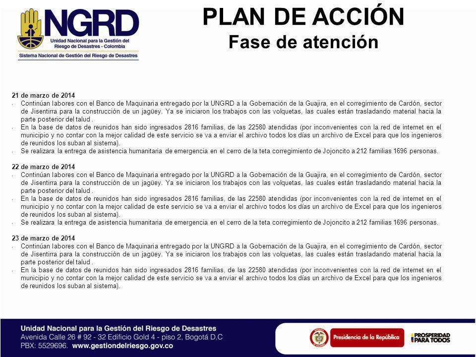 PLAN DE ACCIÓN Fase de atención 24 de marzo de 2014 Continúan labores con el Banco de Maquinaria entregado por la UNGRD a la Gobernación de la Guajira, en el corregimiento de Cardón, sector de Jisentirra para la construcción de un jagüey.