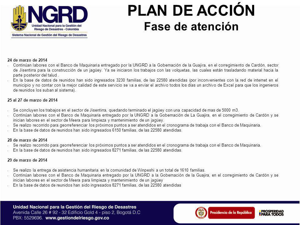 PLAN DE ACCIÓN Fase de atención 31 de marzo de 2014 Se realizo la entrega de asistencia humanitaria en la comunidad de Cardón sector Jurrachirap a un total de 84 familias.