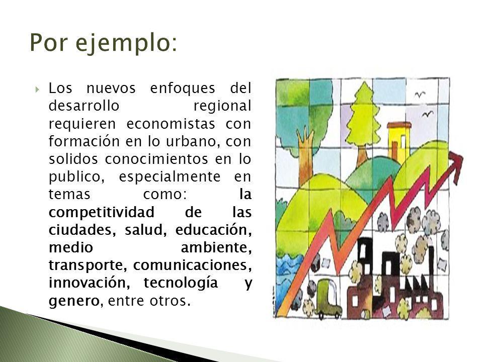 Los nuevos enfoques del desarrollo regional requieren economistas con formación en lo urbano, con solidos conocimientos en lo publico, especialmente en temas como: la competitividad de las ciudades, salud, educación, medio ambiente, transporte, comunicaciones, innovación, tecnología y genero, entre otros.
