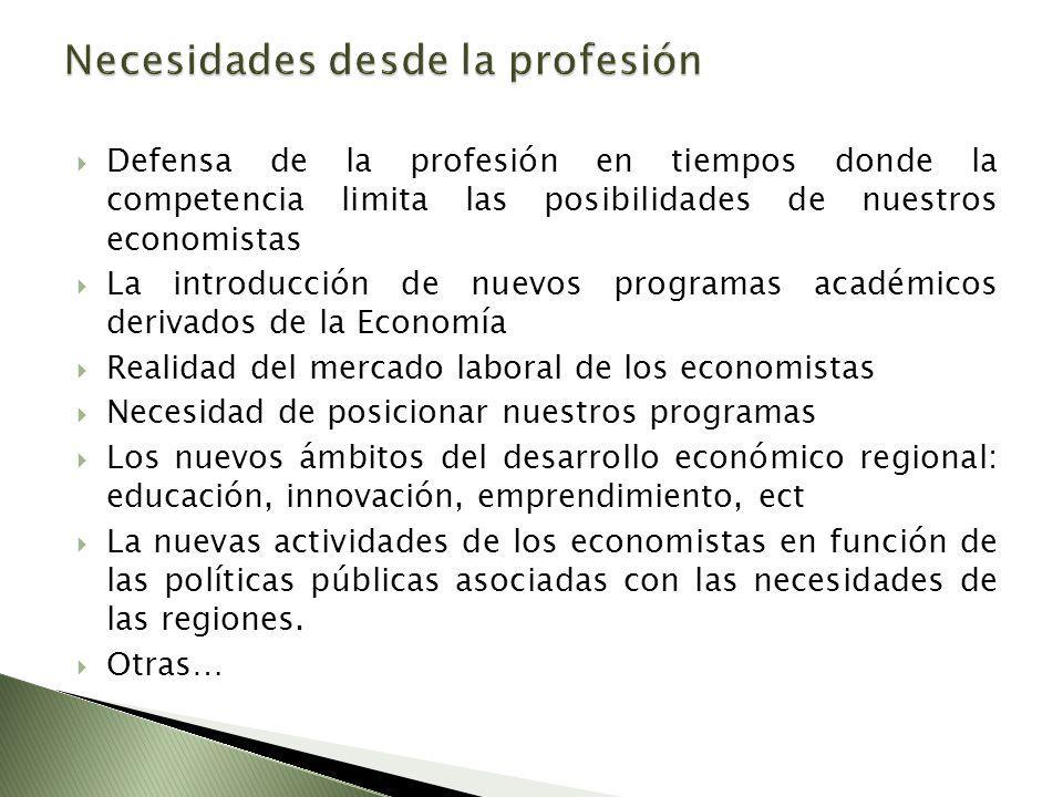 Defensa de la profesión en tiempos donde la competencia limita las posibilidades de nuestros economistas La introducción de nuevos programas académico