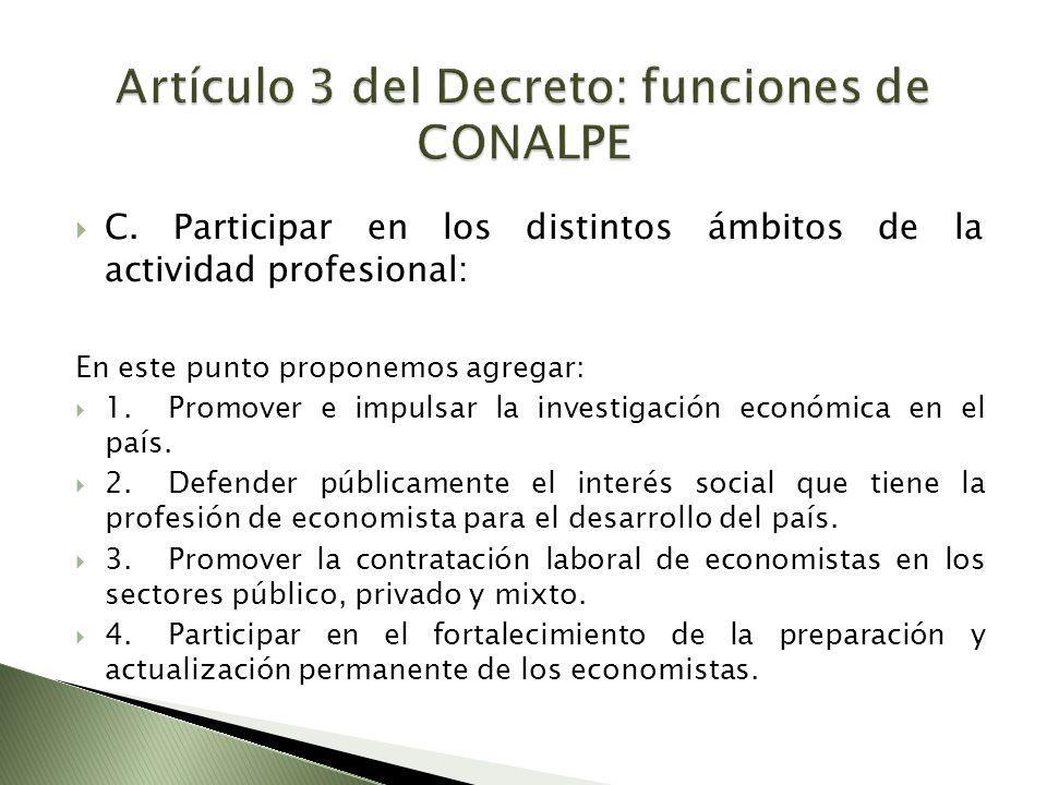 C. Participar en los distintos ámbitos de la actividad profesional: En este punto proponemos agregar: 1.Promover e impulsar la investigación económica