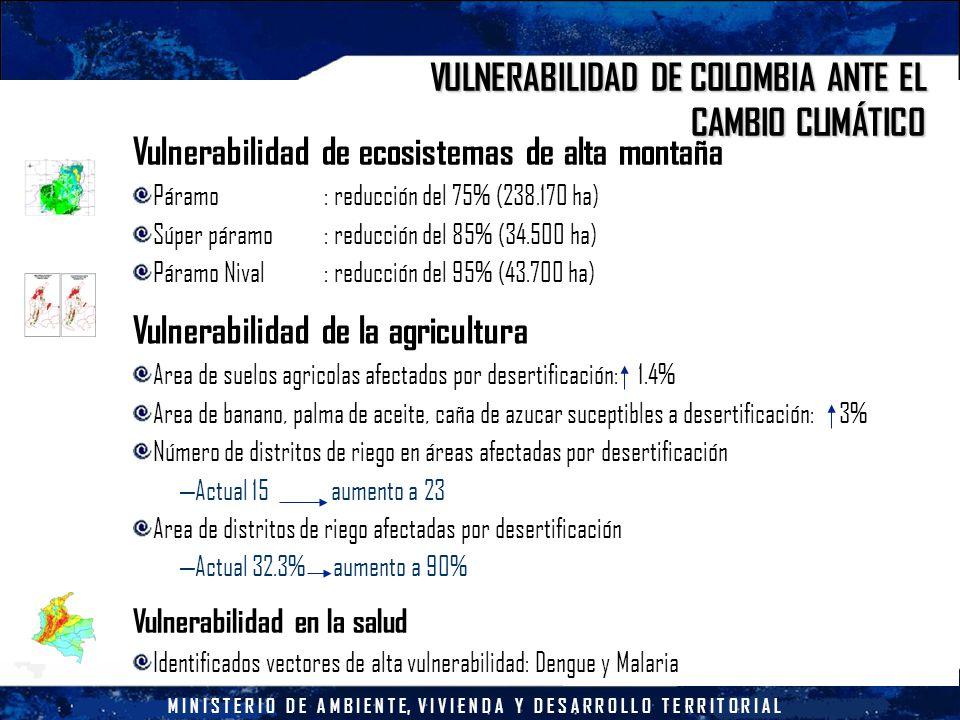 M I N I S T E R I O D E A M B I E N T E, V I V I E N D A Y D E S A R R O L L O T E R R I T O R I A L VULNERABILIDAD DE COLOMBIA ANTE EL CAMBIO CLIMÁTICO Vulnerabilidad de ecosistemas de alta montaña Páramo: reducción del 75% (238.170 ha) Súper páramo: reducción del 85% (34.500 ha) Páramo Nival : reducción del 95% (43.700 ha) Vulnerabilidad de la agricultura Area de suelos agricolas afectados por desertificación: 1.4% Area de banano, palma de aceite, caña de azucar suceptibles a desertificación: 3% Número de distritos de riego en áreas afectadas por desertificación – Actual 15 aumento a 23 Area de distritos de riego afectadas por desertificación – Actual 32.3% aumento a 90% Vulnerabilidad en la salud Identificados vectores de alta vulnerabilidad: Dengue y Malaria