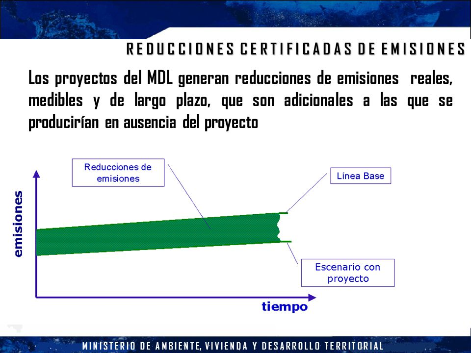 M I N I S T E R I O D E A M B I E N T E, V I V I E N D A Y D E S A R R O L L O T E R R I T O R I A L R E D U C C I O N E S C E R T I F I C A D A S D E E M I S I O N E S Los proyectos del MDL generan reducciones de emisiones reales, medibles y de largo plazo, que son adicionales a las que se producirían en ausencia del proyecto