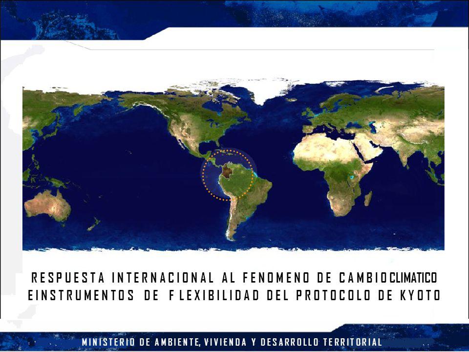 M I N I S T E R I O D E A M B I E N T E, V I V I E N D A Y D E S A R R O L L O T E R R I T O R I A L PROMOCIÓN PORTAFOLIO DINÁMICO CONPES 3242 / 2003 – Objetivo: Promover la participación competitiva de Colombia en el mercado de reducciones verificadas de emisiones de gases de efecto invernadero, mediante el establecimiento y consolidación de un marco institucional nacional – Estrategias Definición de política de venta de servicios ambientales de mitigación del cambio climático Consolidación de una oferta de reducciones de emisiones verificadas Mercadeo internacional de la oferta de reducciones de emisiones verificadas Coordinación, seguimiento y evaluación de la estrategia Incentivos Tributarios – Ley 788 de 2002 – Artículo 18.