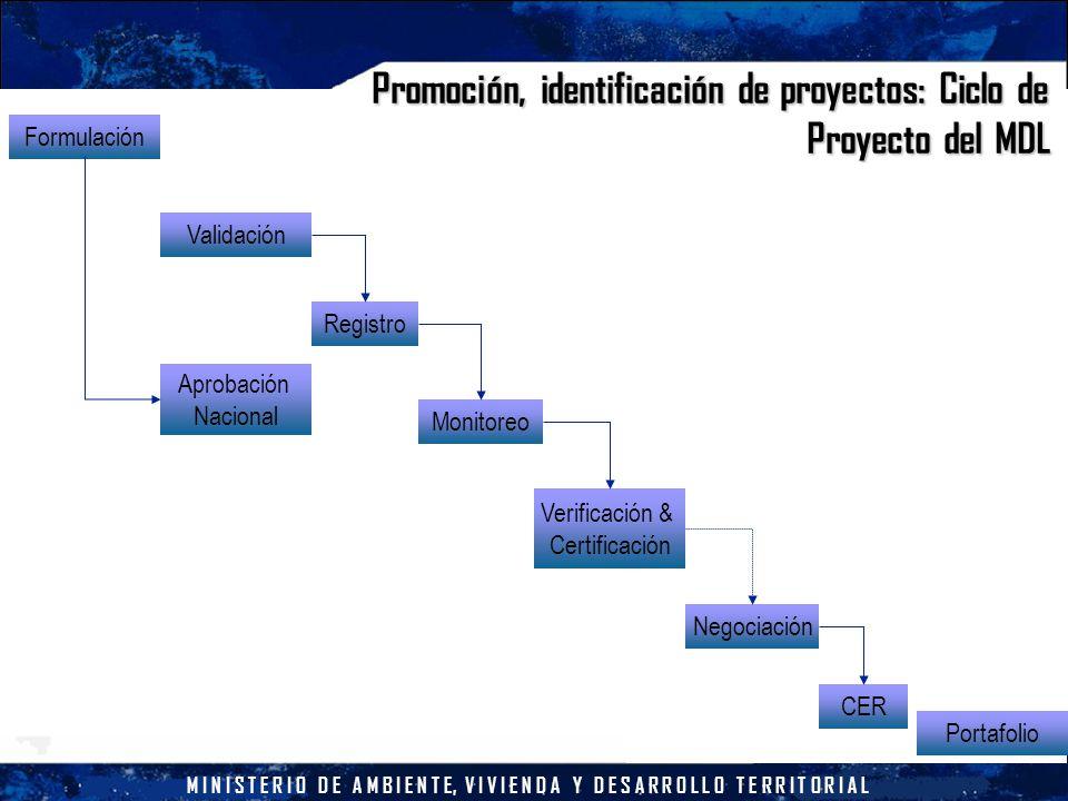 M I N I S T E R I O D E A M B I E N T E, V I V I E N D A Y D E S A R R O L L O T E R R I T O R I A L Promoción, identificación de proyectos: Ciclo de Proyecto del MDL Formulación Validación Aprobación Nacional Registro Monitoreo Verificación & Certificación Negociación CER Portafolio
