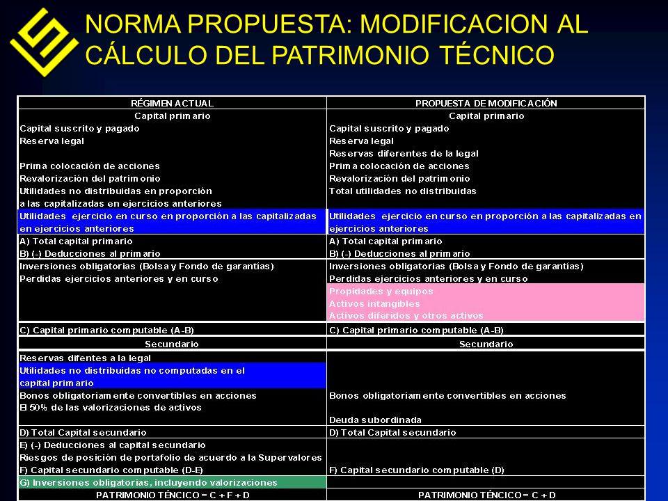 NORMA PROPUESTA: MODIFICACION AL CÁLCULO DEL PATRIMONIO TÉCNICO