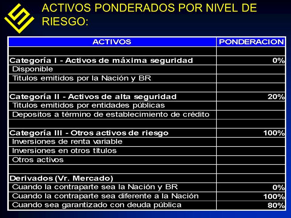 ACTIVOS PONDERADOS POR NIVEL DE RIESGO: