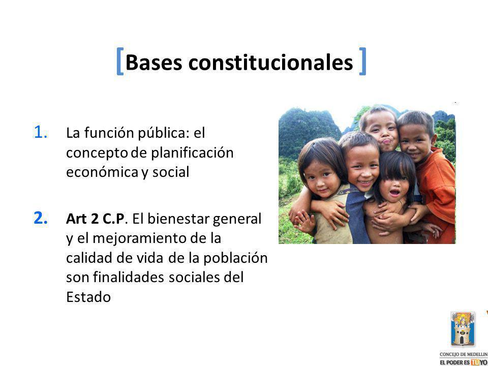 1. La función pública: el concepto de planificación económica y social 2. Art 2 C.P. El bienestar general y el mejoramiento de la calidad de vida de l
