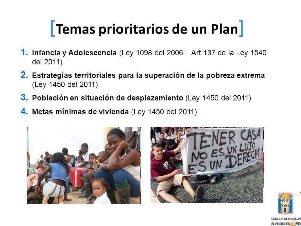 1. Infancia y Adolescencia (Ley 1098 del 2006. Art 137 de la Ley 1540 del 2011) 2. Estrategias territoriales para la superación de la pobreza extrema