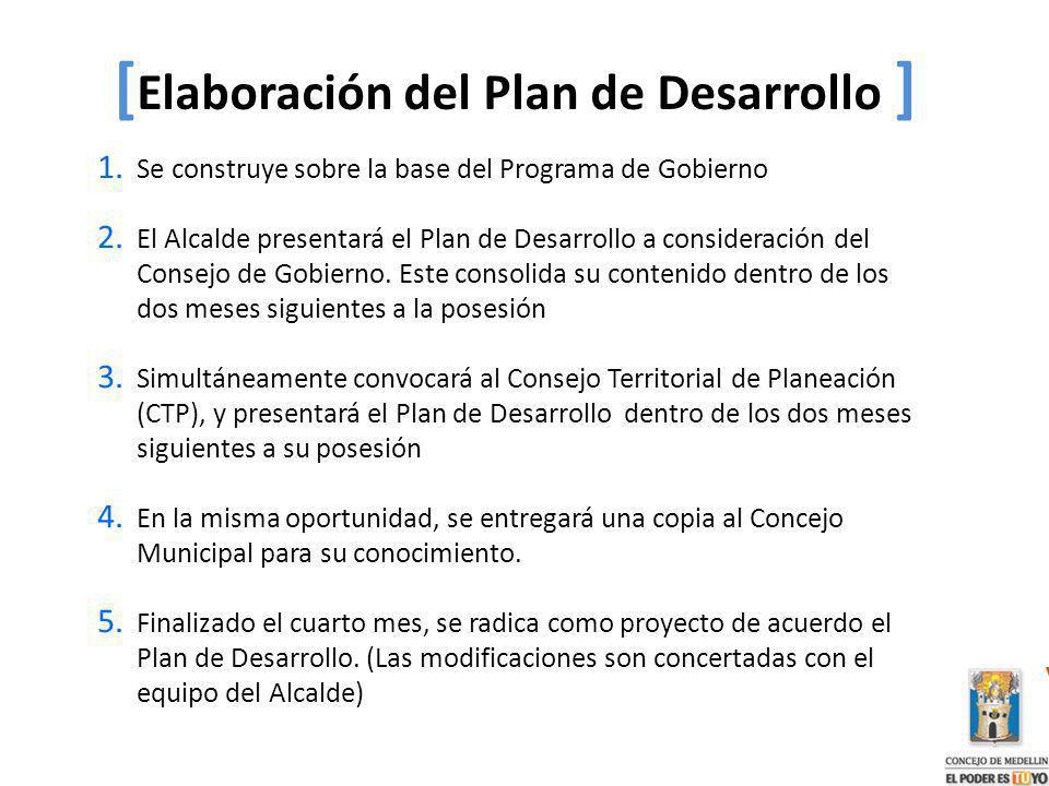 1. Se construye sobre la base del Programa de Gobierno 2. El Alcalde presentará el Plan de Desarrollo a consideración del Consejo de Gobierno. Este co