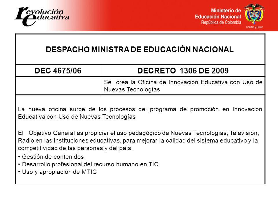 DESPACHO MINISTRA DE EDUCACIÓN NACIONAL DEC 4675/06DECRETO 1306 DE 2009 Se crea la Oficina de Innovación Educativa con Uso de Nuevas Tecnologías La nu