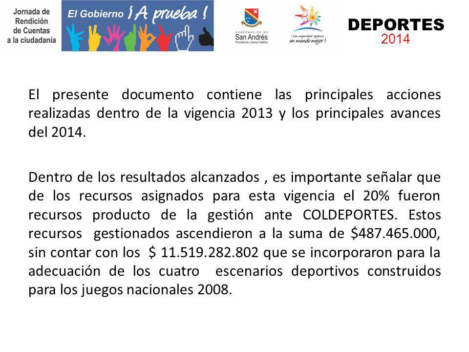 DEPORTES 2014 El presente documento contiene las principales acciones realizadas dentro de la vigencia 2013 y los principales avances del 2014. Dentro