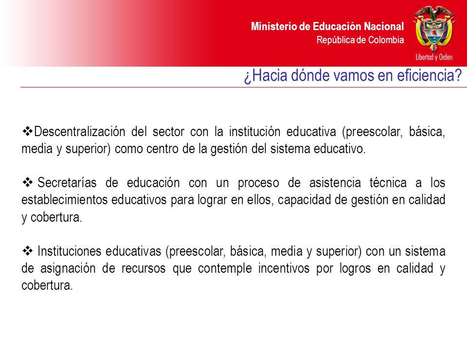 Ministerio de Educación Nacional República de Colombia Descentralización del sector con la institución educativa (preescolar, básica, media y superior) como centro de la gestión del sistema educativo.