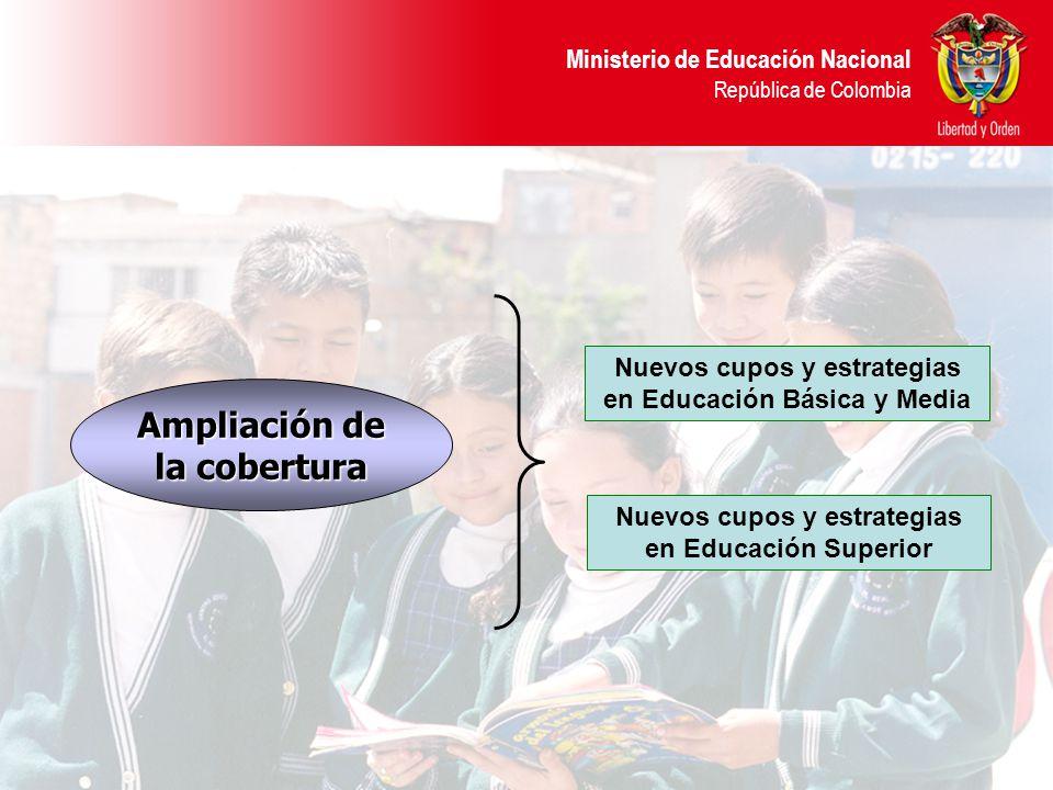 Ministerio de Educación Nacional República de Colombia Ampliación de la cobertura Nuevos cupos y estrategias en Educación Básica y Media Nuevos cupos y estrategias en Educación Superior