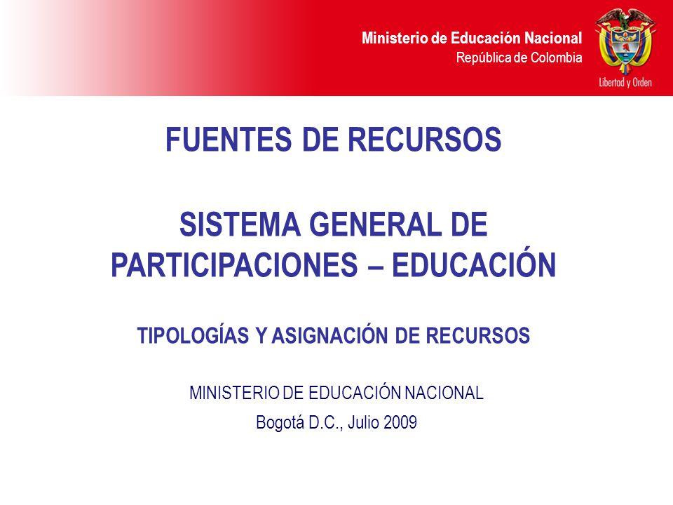 Ministerio de Educación Nacional República de Colombia DESTINACIÓN DE RECURSOS SGP CALIDAD Provisión de la canasta educativa (dotación mobiliarios, textos, bibliotecas, materiales audiovisuales y didácticos).