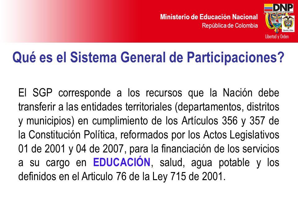 Ministerio de Educación Nacional República de Colombia SISTEMA GENERAL DE PARTICIPACIONES ASIGNACIONES ESPECIALES 4% DISTRIBUCIÓN SECTORIAL 96% Alimentación Escolar 0.5% Ribereños Río Magdalena 0,08% Resguardos Indígenas 0,52% Fondo de Pensiones Territoriales 2,9% Educación 58,5% Salud 24,5% Agua Potable 5,4% Propósito General 11,6% Primera Infancia Puntos adicionales DISTRIBUCIÓN SECTORIAL