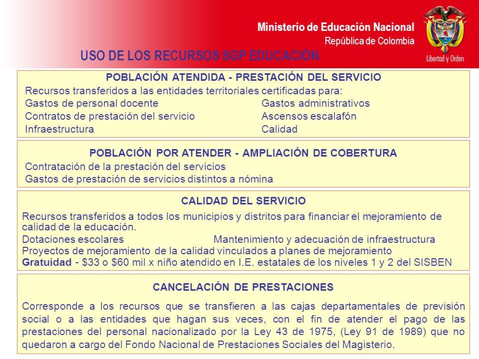 Ministerio de Educación Nacional República de Colombia METODOLOGÍA PARA LA ASIGNACIÓN DE LOS RECURSOS 2009 1.Se paga igual a todos departamentos, distritos y municipios certificados.