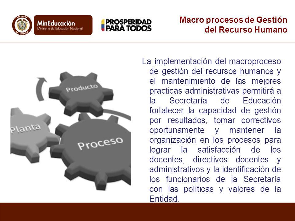 La implementación del macroproceso de gestión del recursos humanos y el mantenimiento de las mejores practicas administrativas permitirá a la Secretar