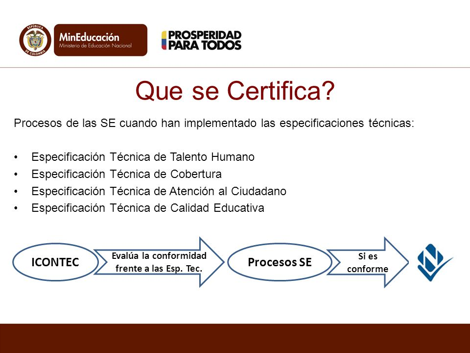 Que se Certifica? Procesos de las SE cuando han implementado las especificaciones técnicas: Especificación Técnica de Talento Humano Especificación Té