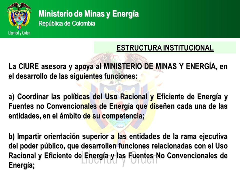 Ministerio de Minas y Energía República de Colombia ESTRUCTURA INSTITUCIONAL La CIURE asesora y apoya al MINISTERIO DE MINAS Y ENERGÍA, en el desarrollo de las siguientes funciones: a) Coordinar las políticas del Uso Racional y Eficiente de Energía y Fuentes no Convencionales de Energía que diseñen cada una de las entidades, en el ámbito de su competencia; b) Impartir orientación superior a las entidades de la rama ejecutiva del poder público, que desarrollen funciones relacionadas con el Uso Racional y Eficiente de Energía y las Fuentes No Convencionales de Energía;