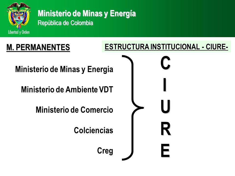 Ministerio de Minas y Energía República de Colombia Ministerio de Minas y Energia Ministerio de Ambiente VDT Ministerio de Comercio Colciencias Creg CIURECIURECIURECIURE M.