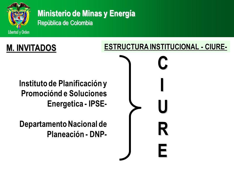 Ministerio de Minas y Energía República de Colombia CIURECIURECIURECIURE Instituto de Planificación y Promociónd e Soluciones Energetica - IPSE- Departamento Nacional de Planeación - DNP- M.