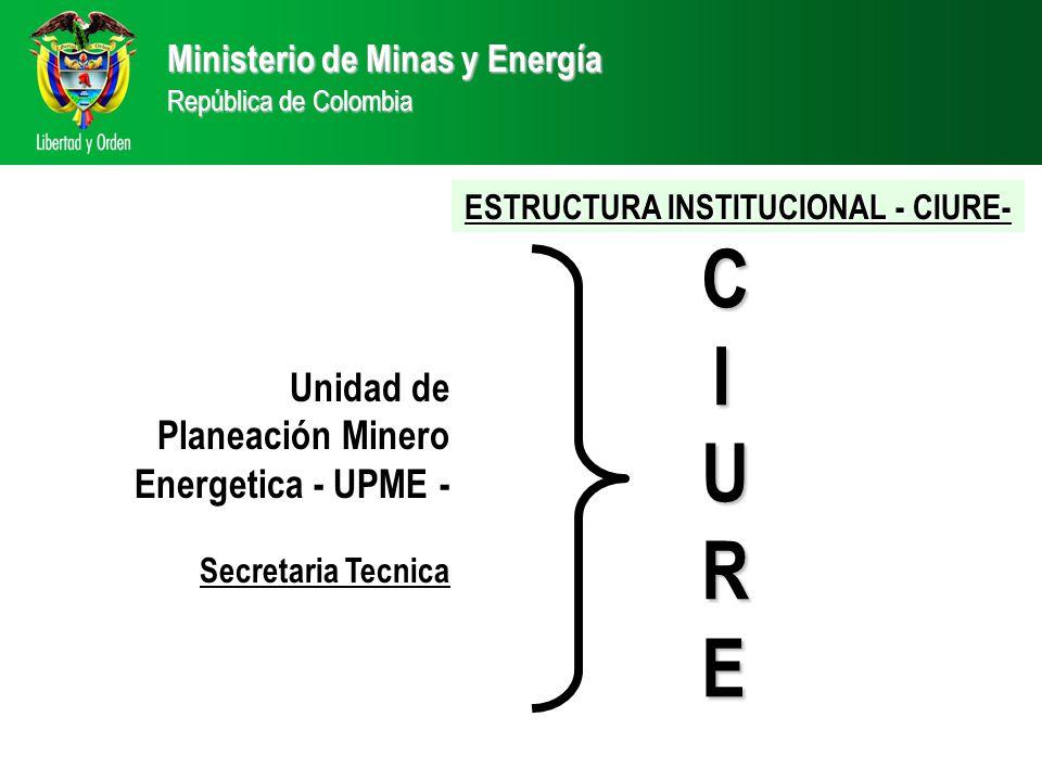 Ministerio de Minas y Energía República de Colombia CIURECIURECIURECIURE Unidad de Planeación Minero Energetica - UPME - Secretaria Tecnica ESTRUCTURA INSTITUCIONAL - CIURE-