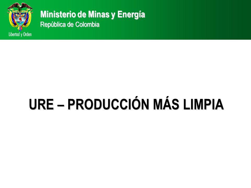 Ministerio de Minas y Energía República de Colombia URE – PRODUCCIÓN MÁS LIMPIA