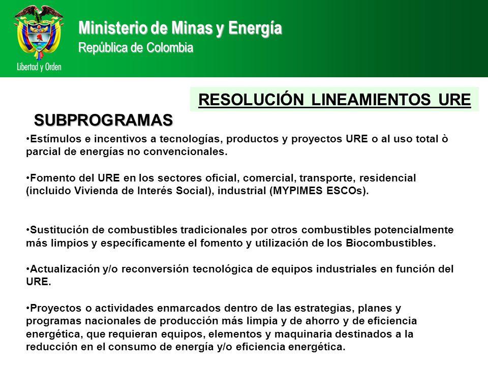 Estímulos e incentivos a tecnologías, productos y proyectos URE o al uso total ò parcial de energías no convencionales.
